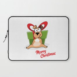 Vector cartoon portrait of funny smiling dog in santa hat with big gift box and hearts isolated on w Laptop Sleeve