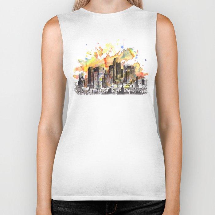 Los Angeles Cityscape Skyline Painting Biker Tank