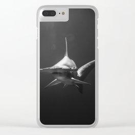 Hammerhead Shark (Black and White) Clear iPhone Case