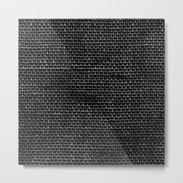 Black Burlap texture  Metal Print