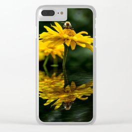 Bee on yellow flower Clear iPhone Case