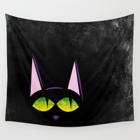 black cat Wall Tapestries featuring Black cat  by AhaC