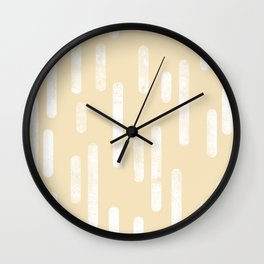 White on Pale Neutral Yellow   Large Scale Inky Rounded Lines Pattern Wall Clock