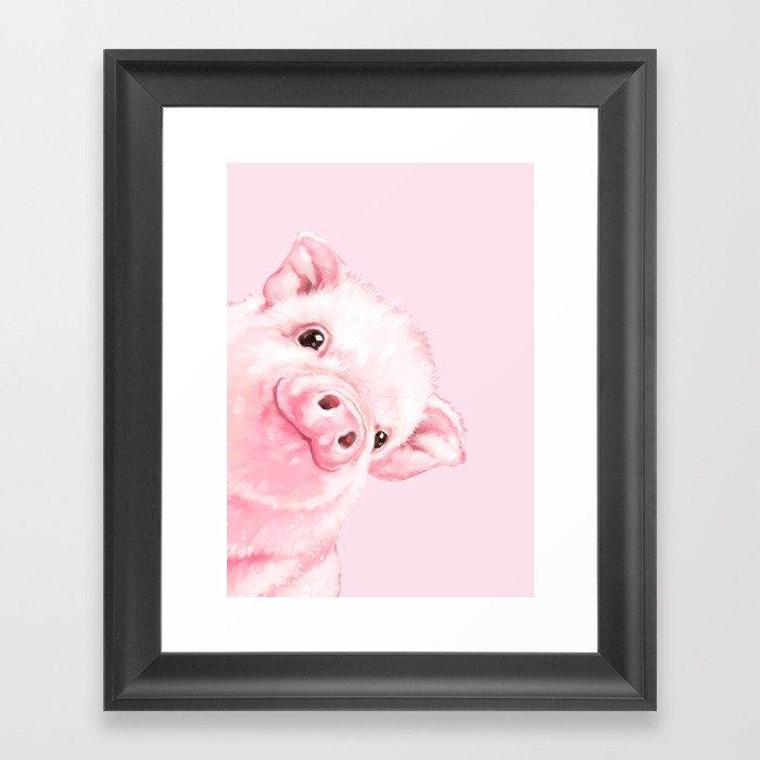 Sneaky Baby Pink Pig Gerahmter Kunstdruck