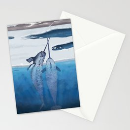 Narwhals emerging from cold ocean Stationery Cards