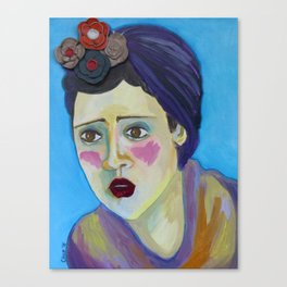 Woman with blue background Canvas Print