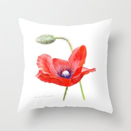 Red Poppy by Teresa Thompson Throw Pillow