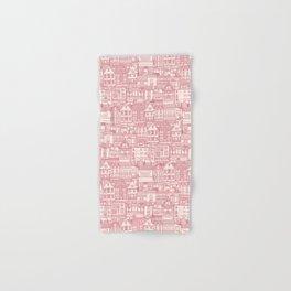 cafe buildings pink Hand & Bath Towel