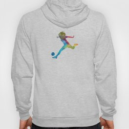Woman soccer player 01 in watercolor Hoody