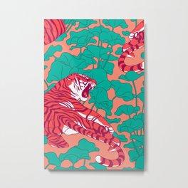 Scarlet tigers on lotus flower field. Metal Print