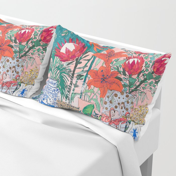 The Domesticated Jungle - Floral Still Life Pillow Sham