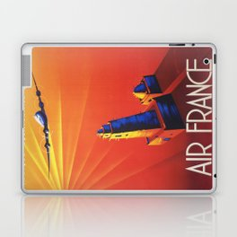 Vintage Mid Century Travel Poster Air France Jet African Islamic Mosque Monochrome Orange Sunset Laptop & iPad Skin