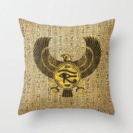Egyptian Eye of Horus - Wadjet Gold and Wood Throw Pillow