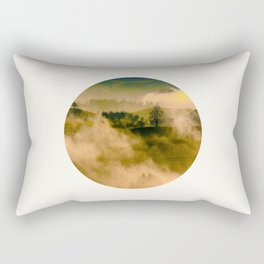 Mid Century Modern Round Circle Photo Graphic Design Foggy Green Country Landscape Rectangular Pillow