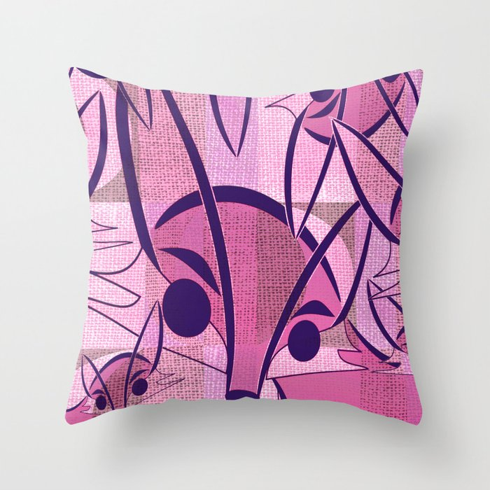 Pink Fox Retro Print Throw Pillow