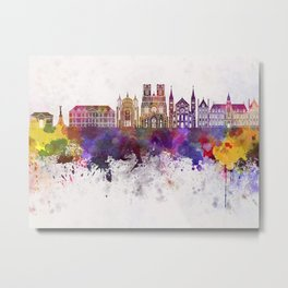 Reims skyline in watercolor background Metal Print