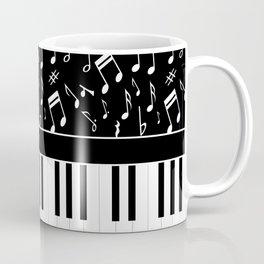 Stylish black and white piano keys and musical notes Coffee Mug