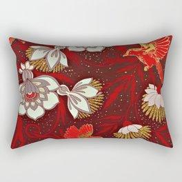 Burgundy Red Gold Bird Flowers Glitter Rectangular Pillow