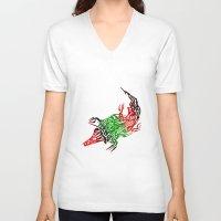 crocodile V-neck T-shirts featuring Crocodile by SvetIu