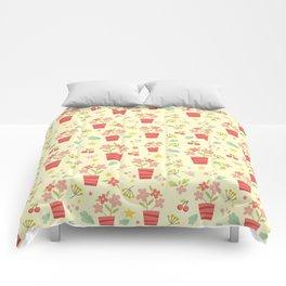yellow flower pots Comforters