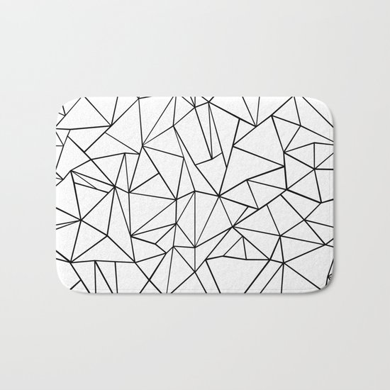 Abstract Outline Black on White Bath Mat