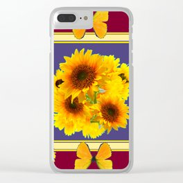 BUTTERFLY SUNFLOWER BOUQUETS BURGUNDY ART Clear iPhone Case