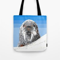 walrus Tote Bags featuring Walrus by wingnang