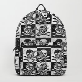 Swimming Glyphs and Sunflowers: Checkered Version With Skulls Backpack