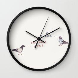 Zut Alors -- You What Love? // French & British Birds Wall Clock