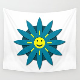 Smiley flower Wall Tapestry
