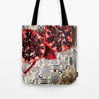 pomegranate Tote Bags featuring Pomegranate  by Carey Lee Designs