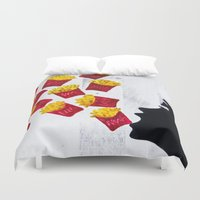 french fries Duvet Covers featuring Oh fries by Drica Lobo Art