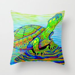 Colorful Psychedelic Neon Painted Turtle Rainbow Turtle Throw Pillow