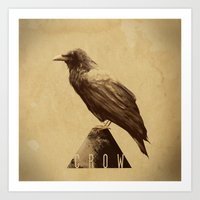 crow Art Prints featuring -CROW- by antoniopiedade