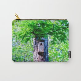 Old Bird House On A Large Larch Tree In Spring. Fresh Green Leaves And Needles Carry-All Pouch