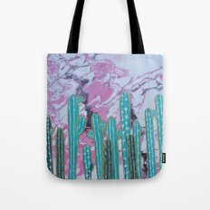 Pink Cactus with Gold Outline Tote Bag