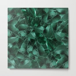 Pattern with green leaves after rain Metal Print