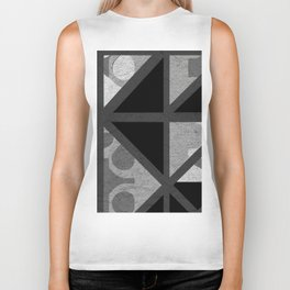 Cotton Textured Geometrical Abstract Design Biker Tank