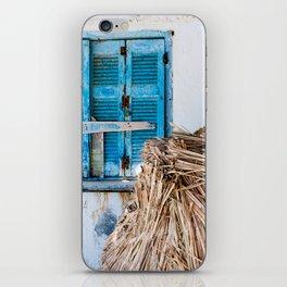 Distressed Blue Wooden Shutters and Beach Umbrella in Crete. iPhone Skin