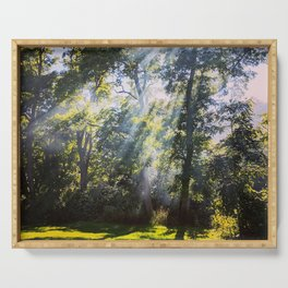 God Rays Shining Down Through The Treeline Serving Tray