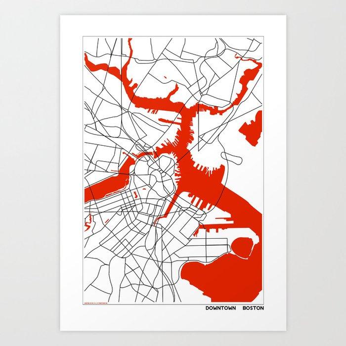 Downtown Boston Map Art Print by studiotesouro
