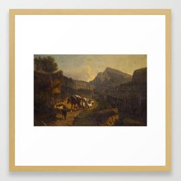 Andreas Marko An extensive landscae with a peasant girl and other figures Framed Art Print
