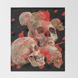 MACABRE BLOOD & SKULLS BLACK  ART Throw Blanket