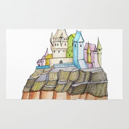 fairytale castle on a cliff Rug