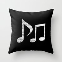 death note Throw Pillows featuring Music note by ArtSchool