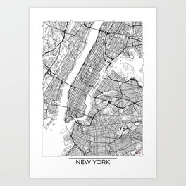 New York City Neutral Map Art Print Art Print