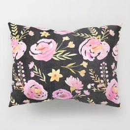 Delicate Poppy Pattern On Chalkboard Pillow Sham