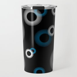 Turquoise White Starburst Pattern Black Retro Travel Mug