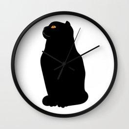 black Scottish fold Wall Clock