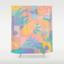 Lemons in Amalfi / Abstract shapes, Pink, Turquoise, Yellow, Lavender Shower Curtain